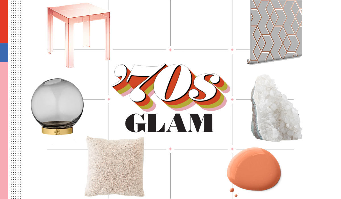 70s-inspired home decor including a throw pillow, side table, and wallpaper photo