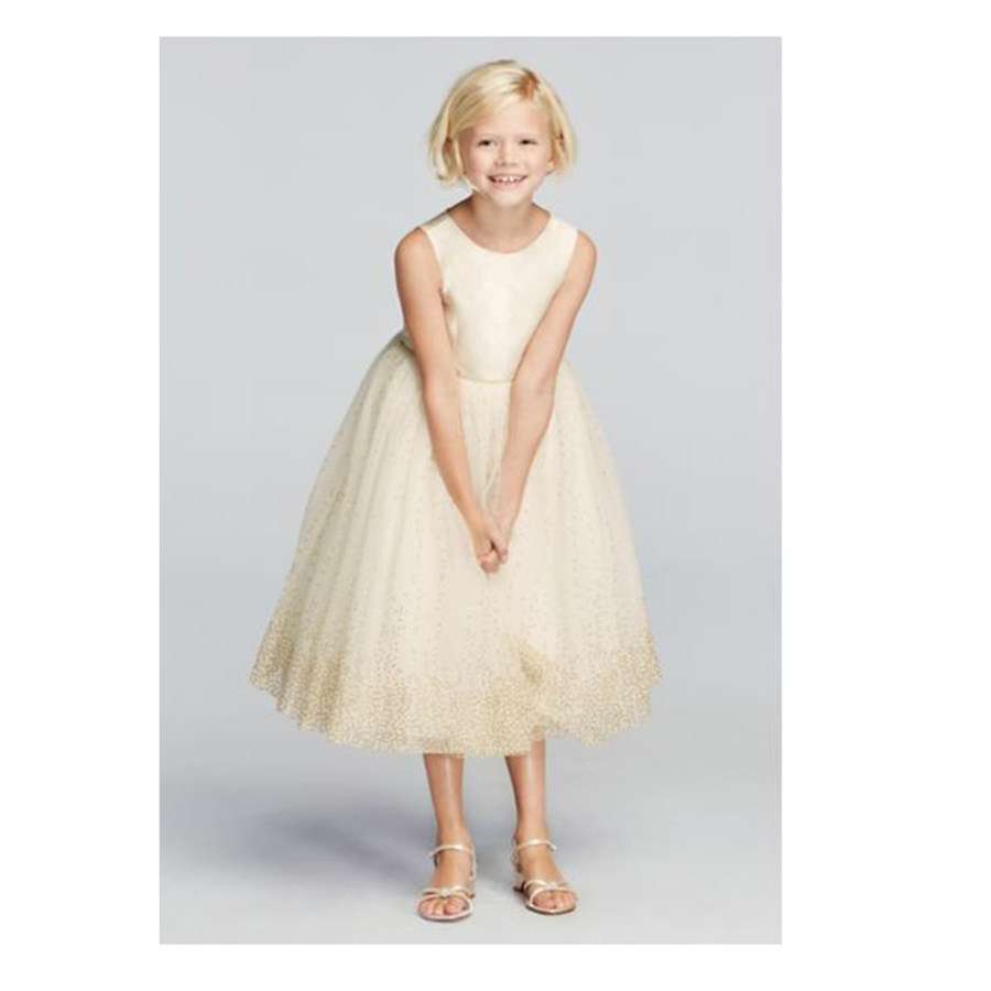 Best Flower Girl Dresses David's Bridal Tulle Tea Length Gown with Metallic Shimmer Detail photo
