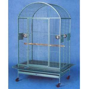 Large blue Mcage wrought iron bird cage on wheels with a rounded top photo