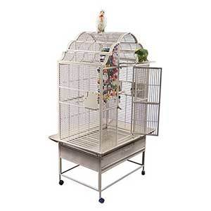 White A&E bird cage with tiered decorative top on wheels photo