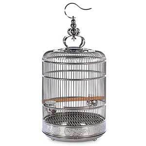 Stainless steel Prevue bird cage with wooden perch, two porcelain bowls inside, and decorative top with hook for hanging photo