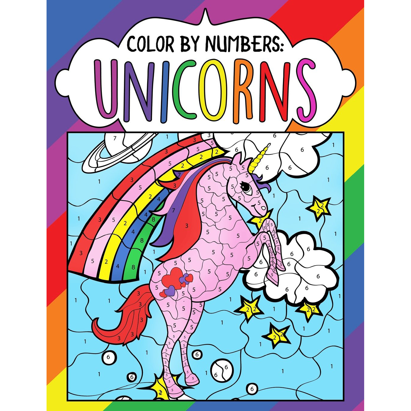 brain teasers for kids Color by Numbers Unicorns photo