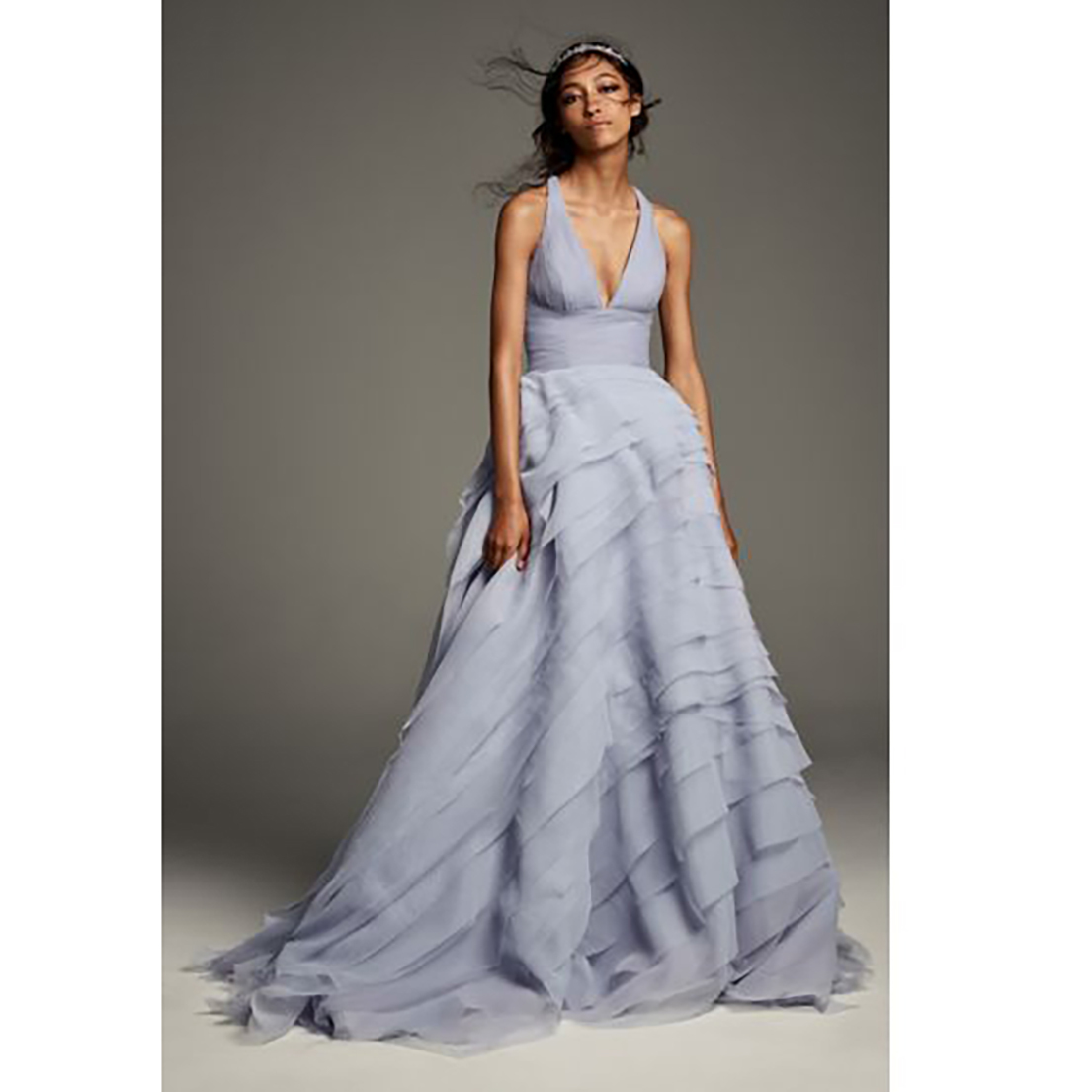 78b42af9730 Shades of Gray Wedding Dress  White by Vera Wang Tiered Organza T-Back Ball  Gown Wedding Dress
