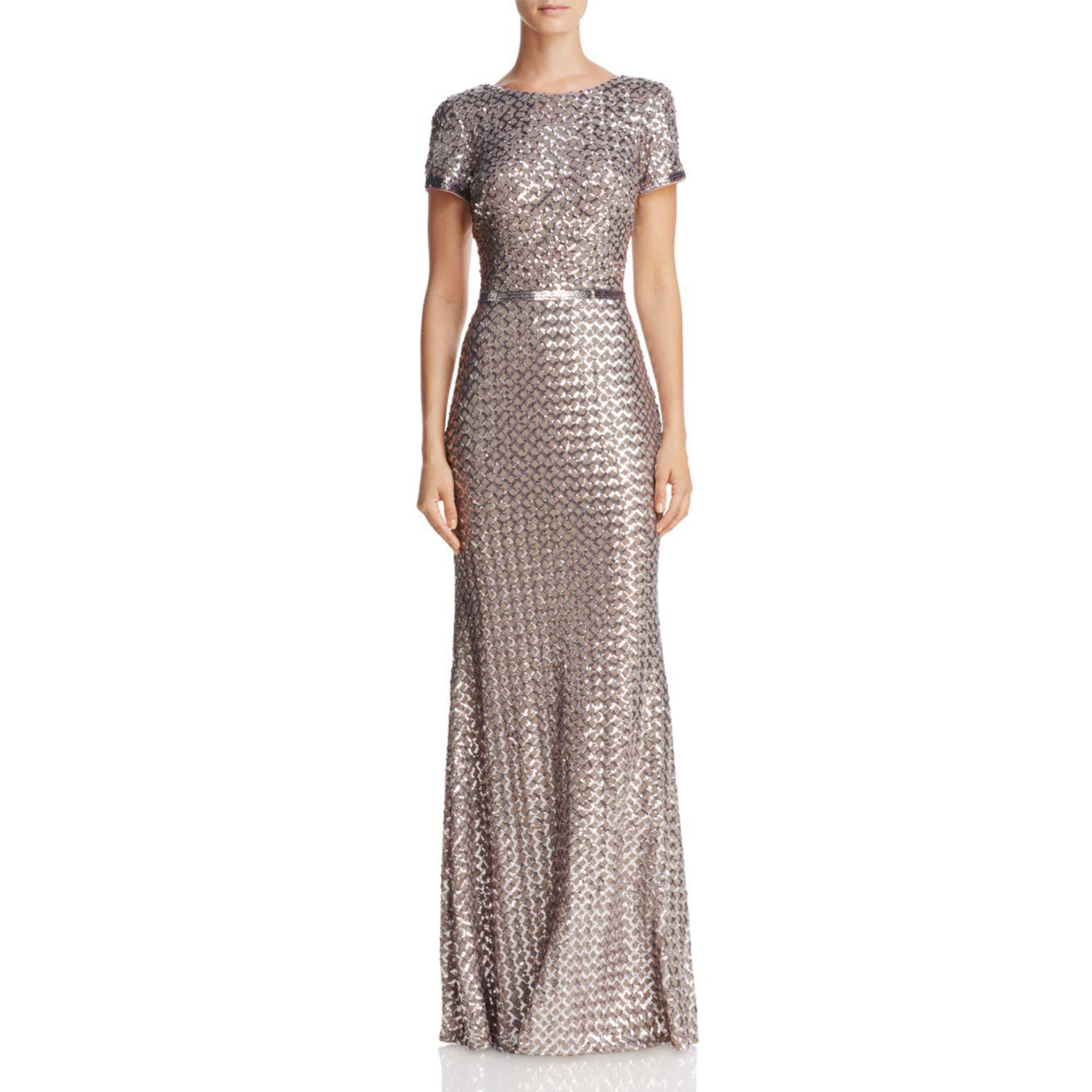 colorful wedding gowns Aqua Belted Sequin Gown bloomingdales photo