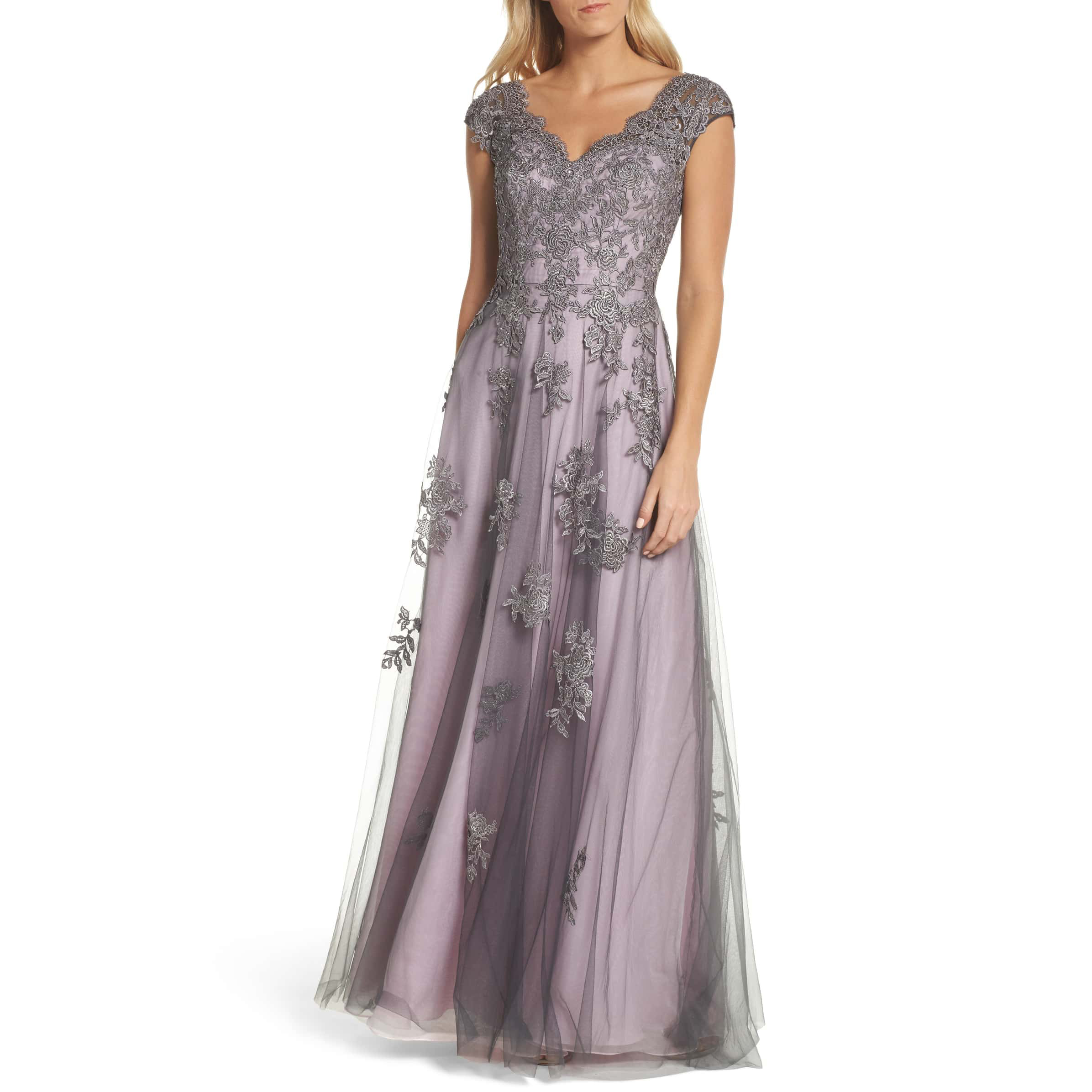 colorful wedding gowns La Femme Embellished Mesh A-Line Gown dove gray pale pink nordstrom photo