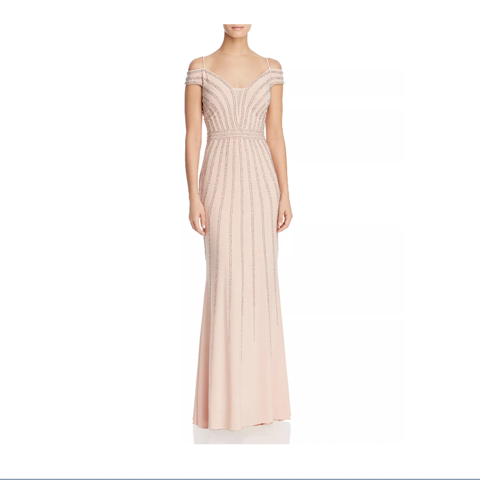 colorful wedding gowns Aqua Cold-Shoulder Embellished Gown pink bloomingdales photo