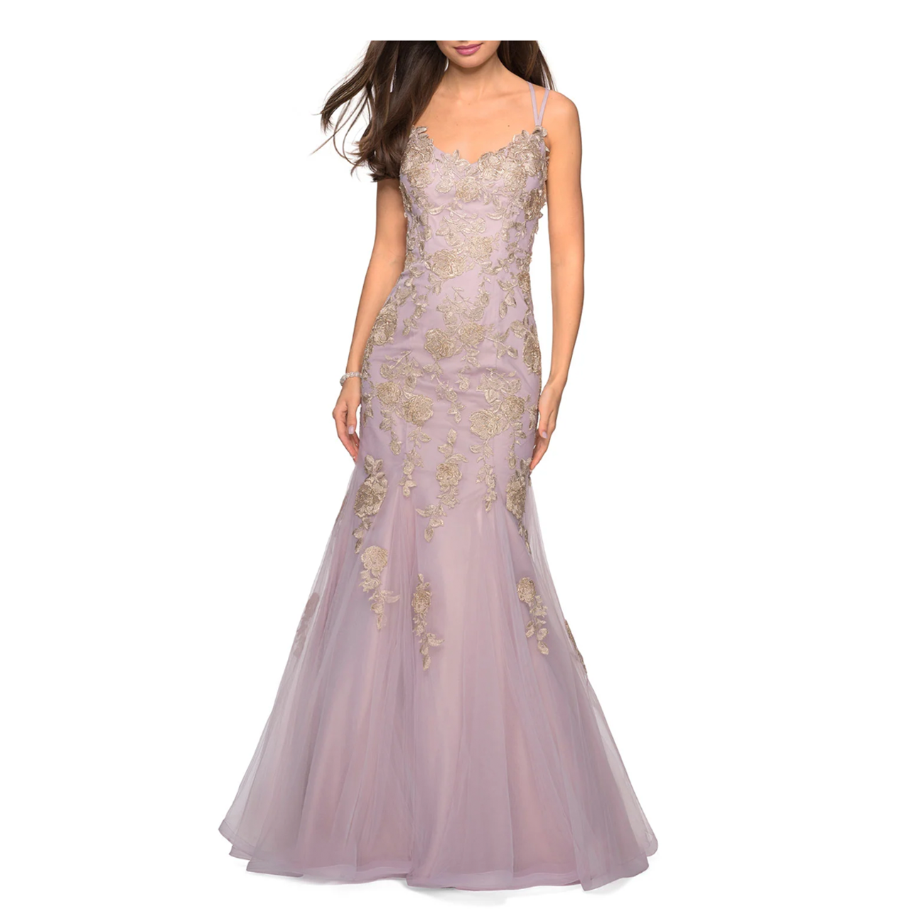 colorful wedding gowns La Femme Sleeveless Golden Lace Applique Mermaid Gown Strappy-Back mauve gold neiman marcus photo