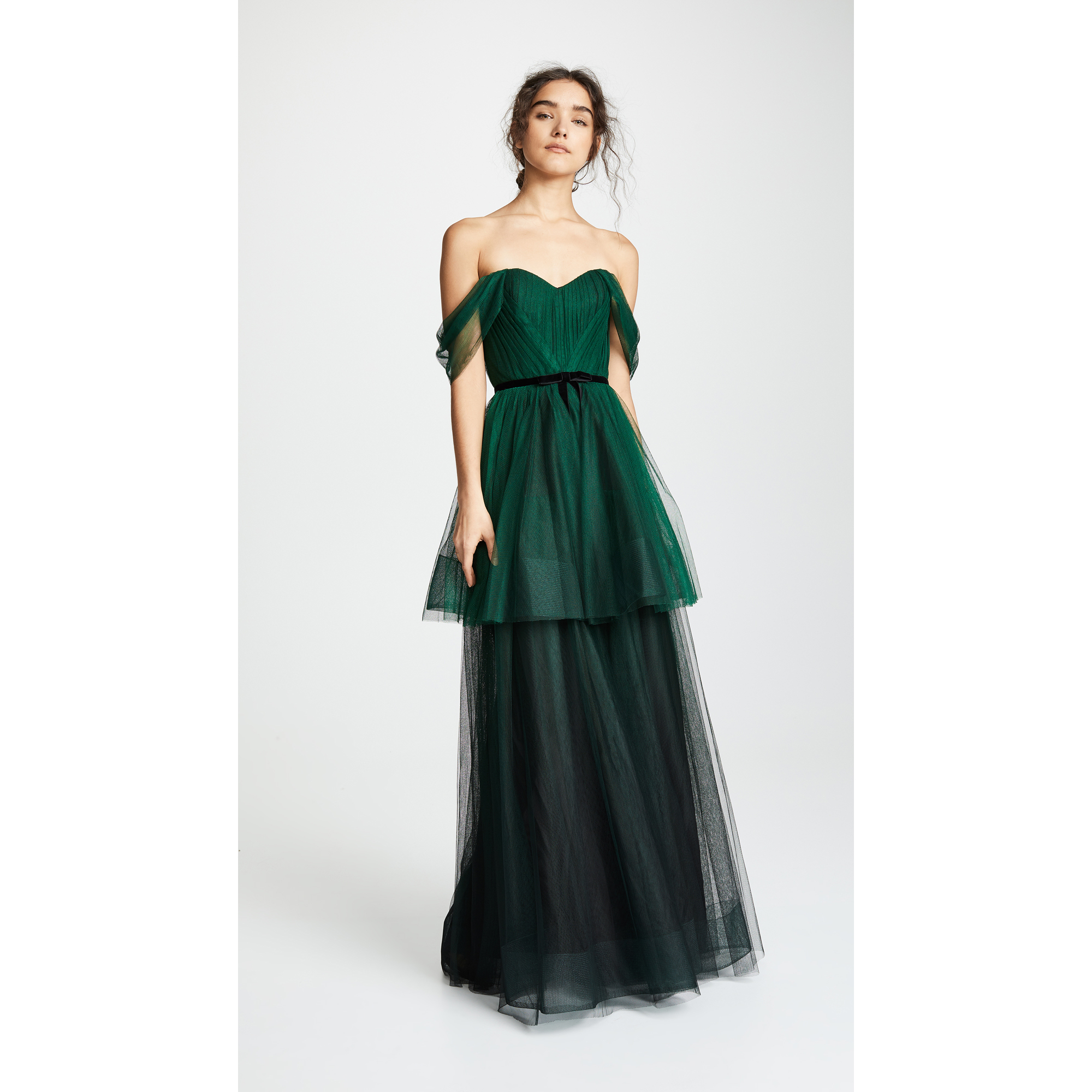 colorful wedding gowns Marchesa Notte Ombre Tulle Tiered Gown in Emerald green shopbop photo