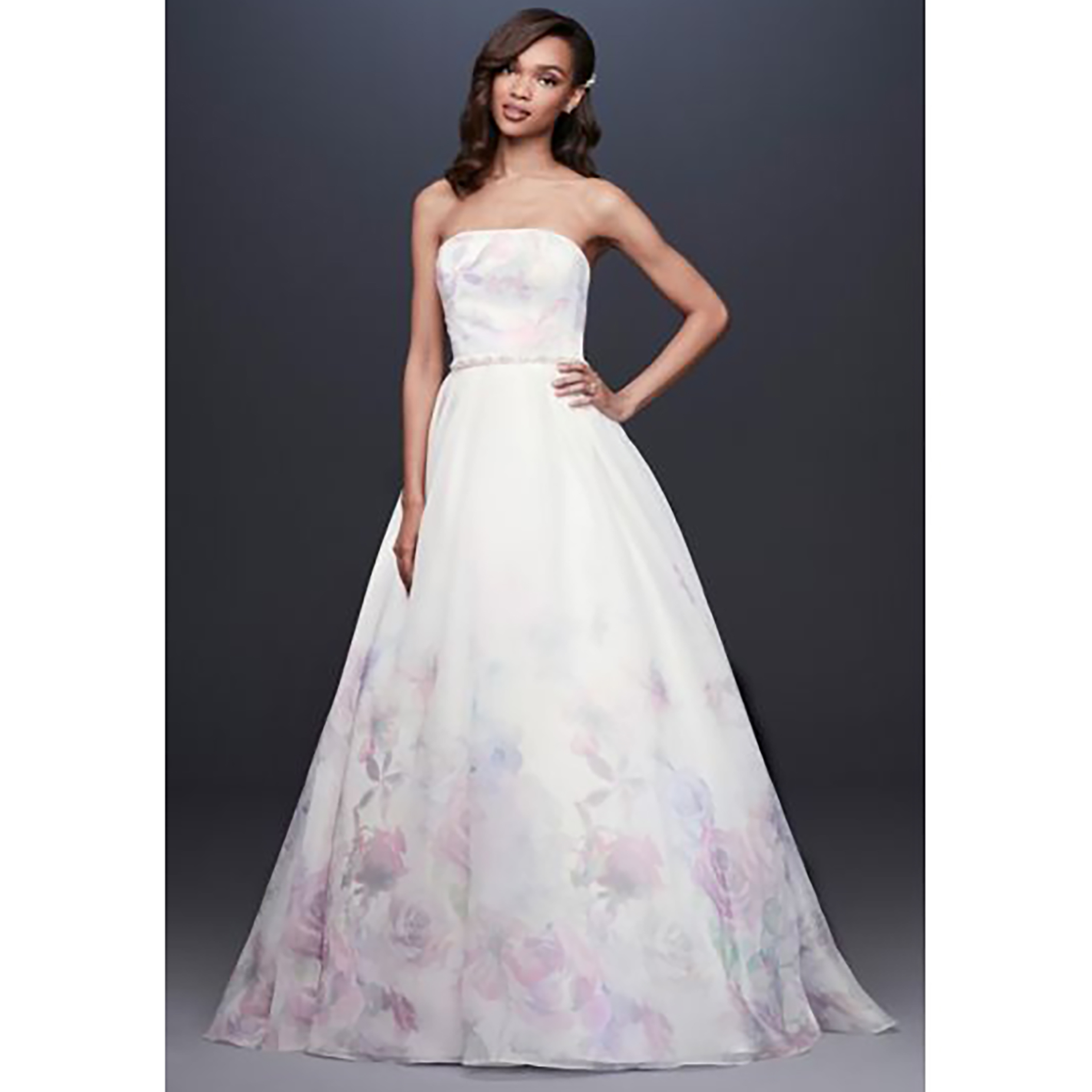 b8cf27074e20d2 colorful wedding gowns Floral Watercolor Organza Ball Gown Wedding Dress  davids bridal photo