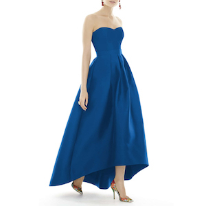 colorful wedding gowns Alfred Sung Strapless High/Low Sateen Twill Gown royal blue nordstrom photo