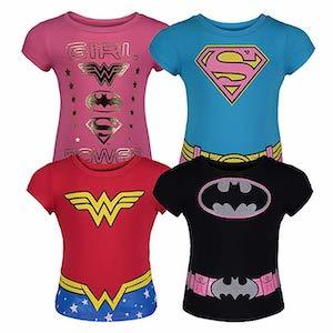 Best Girl Power Gifts Toddler Girls' Batgirl, Supergirl and Wonder Woman T-Shirts photo
