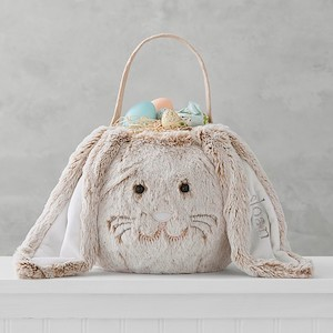 Personalized Easter Baskets Taupe Long-Eared Bunny Treat Bucket Pottery Barn Kids photo