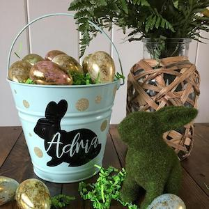 Personalized Easter Baskets Personalized Bunny Silhouette Easter Bucket Etsy photo