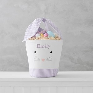 Personalized Easter Baskets Pottery Barn Kids Personalized Lavender Tie-Ear Bunny Bucket photo