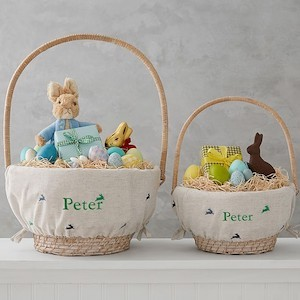 Personalized Easter Baskets Pottery Barn Kids Embroidered Bunny Print Personalized Basket Liner photo