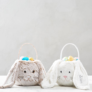 Personalized long ear fur bunny Easter basket from Pottery Barn Kids photo