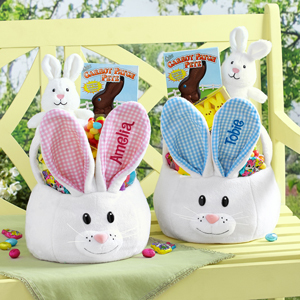 White bunny baskets with blue and pink ears from Walmart photo