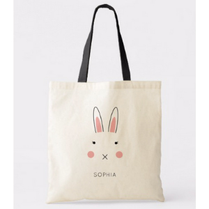 Personalized bunny canvas tote bag from Zazzle photo