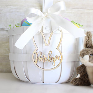 Personalized wooden bunny charm on basket from Etsy photo