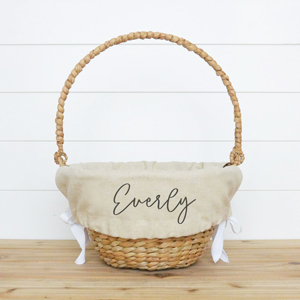 Personalized natural basket liner from Etsy photo