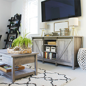 Furniture with shelves for storage. photo