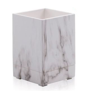 Square brush holder with a white and light gray marble print from Walmart photo