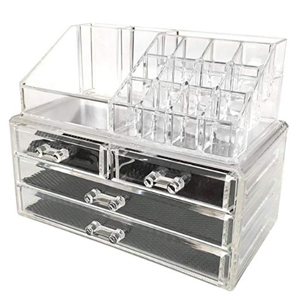 Clear acrylic makeup organizer with four drawers from Amazon photo