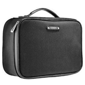Black leather rectangular travel bag with a handle for makeup and other beauty supplies from Sephora photo