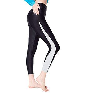 Black swim leggings with a white stripe down the outer sides of the legs photo