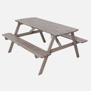 Wooden picnic table in weathered gray from Walmart photo