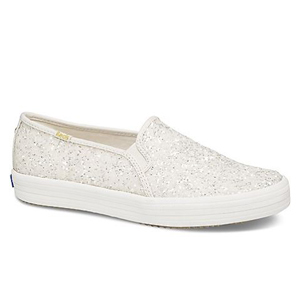 White slip-on sneakers with glitter photo