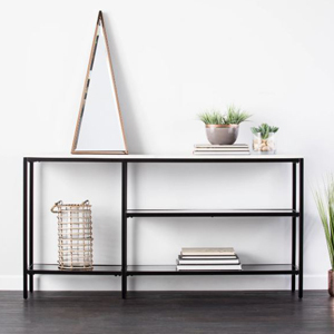Black and white console table with four shelves from Bed Bath & Beyond photo