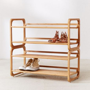 Four-tier bamboo shoe rack from Urban Outfitters photo