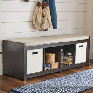 Four-cube bench organizer with a cushion on top from Walmart photo