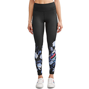 Black leggings with a blue floral print and pink stripe. photo