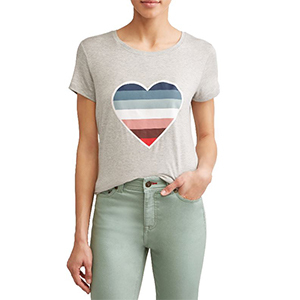 Gray t-shirt with a colorful stripe heart graphic. photo
