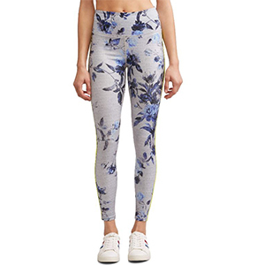 Gray leggings with a blue floral print all over. photo