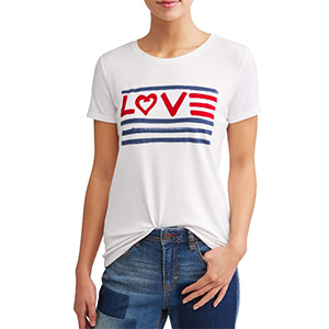 White t-shirt with an American flag love graphic. photo