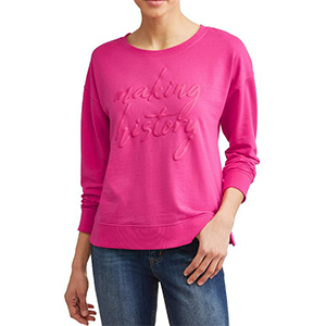 Hot pink crew neck sweatshirt with inspiring make history words. photo