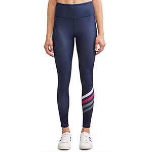 Navy blue legging with white and pink stripes. photo