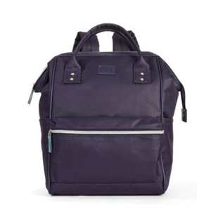 Navy blue backpack with front zipper and larger compartment. photo