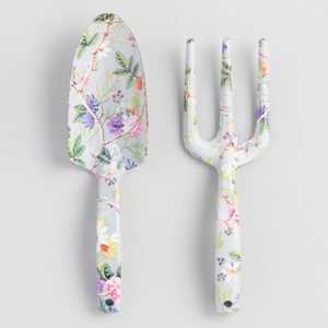 Two garden tools featuring a colorful floral design photo