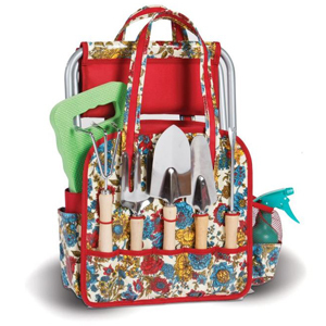 Red, blue, and yellow nine-piece floral garden tool set photo