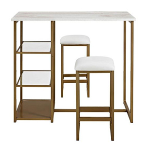 Brass pub set with a white top and matching stools from Amazon photo
