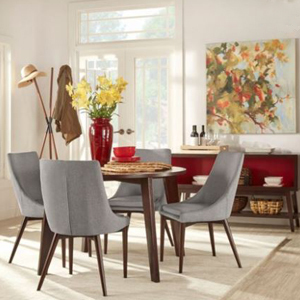 Round dining table with four upholstered gray chairs from Walmart photo