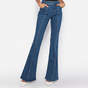 Dark-wash flare jeans with a high-waist fit photo