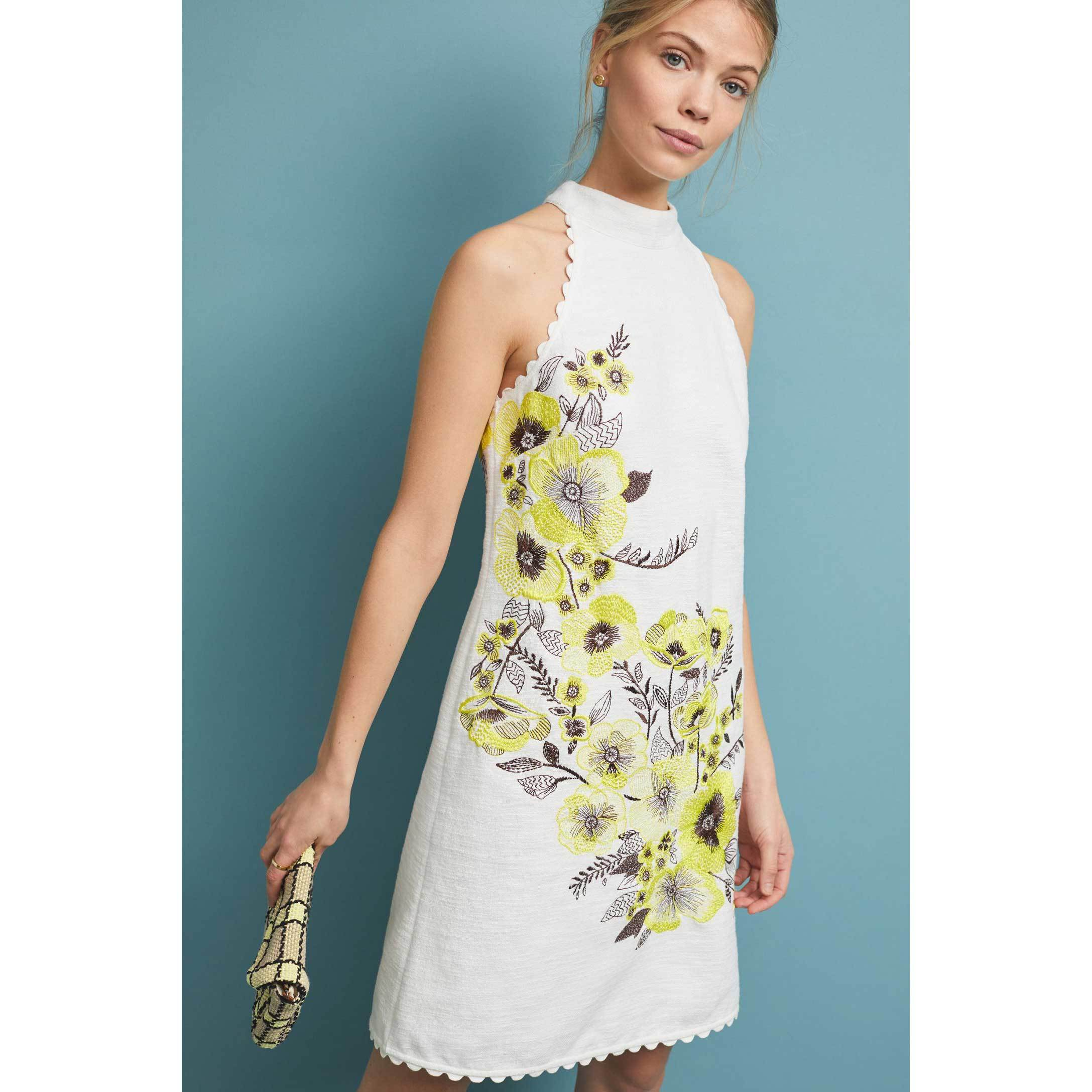 Anthropologie Petunia Shift Dress white and floral photo