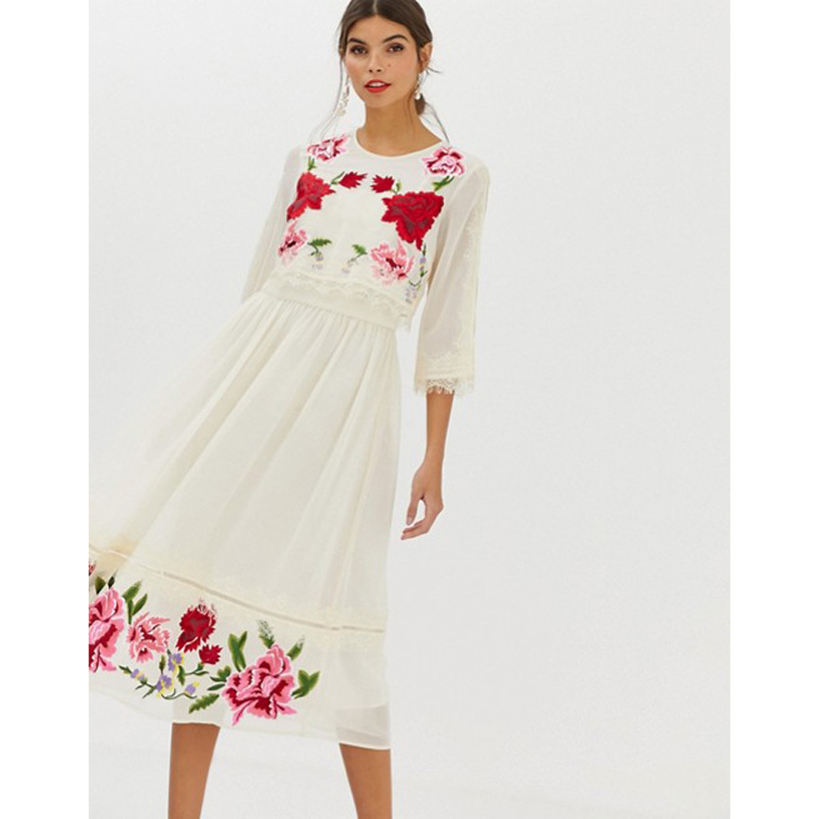 ASOS Design Double Layer Midi Embroidered Dress with Long Sleeves photo