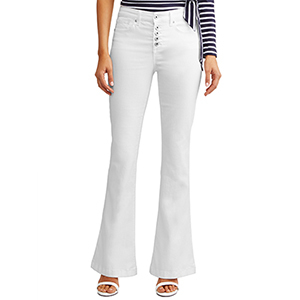 A woman wears white high waisted flare Sofía Jeans by Sofía Vergara jeans photo