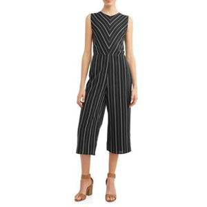 Striped jumpsuit from Walmart with cropped legs photo